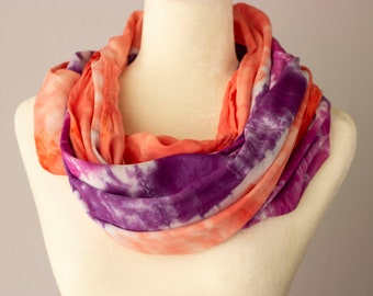 Tutti Fruiti Infinity Scarf, hand-dyed rayon, tie-dye, gift for her, Mother's Day