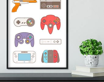 Video Game Art gift , Switch, Retro Controllers Poster, Gamer Birthday gift, Nintendo 64, Game Room Decor, Super NES Wii Controller History