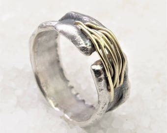 Unique man band rustic ring, oxidized silver and gold ring.