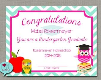 Kindergarten award etsy preschool kindergarten graduation promotion commencement certificate printable digital file 85 yadclub Gallery