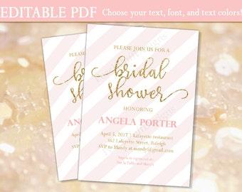 Bridal shower invitation (INSTANT DOWNLOAD) - Bridal shower invites - Printable bridal shower invitation - Pink and gold Bridal shower BR001