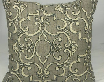 """Brown and Black French Lattice Cushion Cover. Fits an 18""""x18"""" pillow insert."""