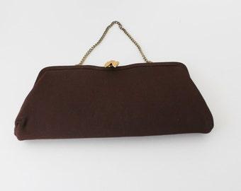 50s Brown Cloth Clutch, Gold Chain Strap, Formal Evening Bag Purse