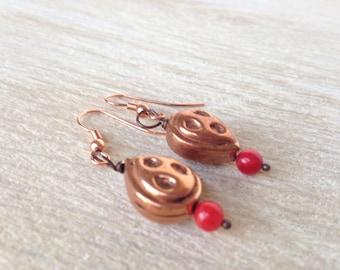 Rustic Copper Teardrop Earrings Watermelon Red Earrings Dangle Drop Earrings Bohemian Jewelry Handmade Jewelry California USA Handcrafted