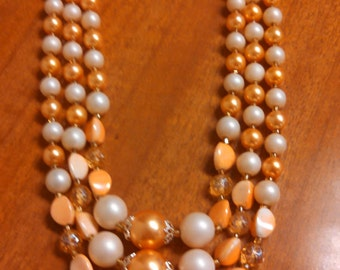 Peach Double Strand Costume Bead Necklace - Inv# 5DM1