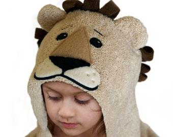Hooded Towel / Lion / Hooded Bath Towel / Kid Towel / Animal Hooded Towel / Zoo Theme / Personalized / Kid 3 to 5 Years