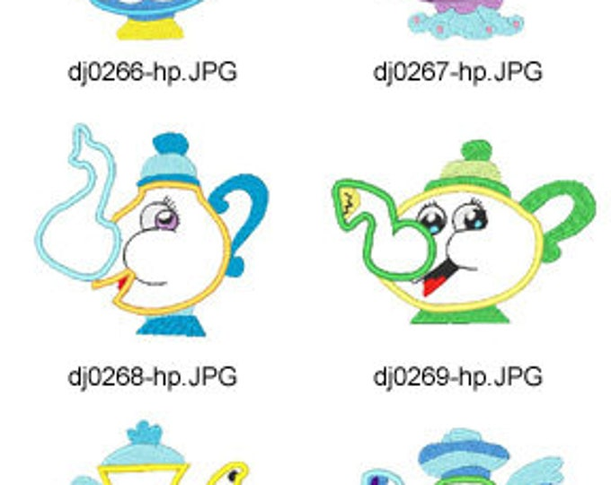 Applique-Teapots ( 10 Machine Embroidery Designs from ATW ) XYZ17E