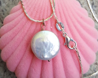 Coin Pearl Necklace. Sterling Silver 925. Bridesmaid Pendant. Wedding Jewelry.