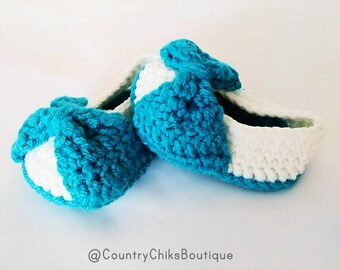 Baby Ballerina Booties / Crochet / Handmade / Baby Girls Shoes / 3-6 Months / Gifts /Baby Shower