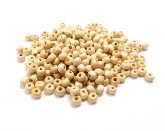 Natural Round Wooden Beads, Beige Wooden Beads, Natural Wooden Beads, Ivory Wood Balls, Cream Wooden Balls, 4x5mm/ Ø 1.8-2mm - 120 pcs