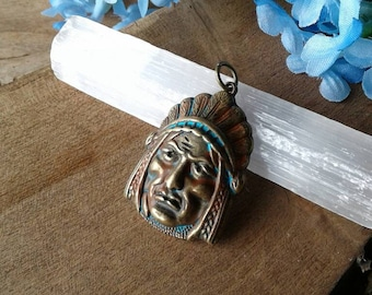 Indian Chief Pendant,Western Southwestern Jewelry