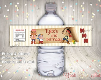 Jake and the Neverland Pirates // Custom Water Bottle Labels // Bottle Wraps // Water Resistant // Personalized // Printed & Shipped
