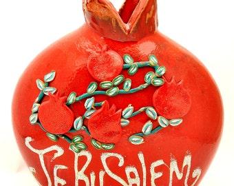 Jerusalem Red Pomegranate Hands Made Art Ceramic