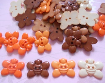 20 pcs Cute Bee button size 12 x 27  mm Orange and Brown