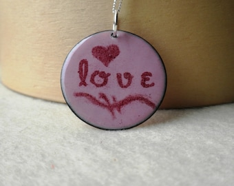 Enamel Love Necklace in Pink