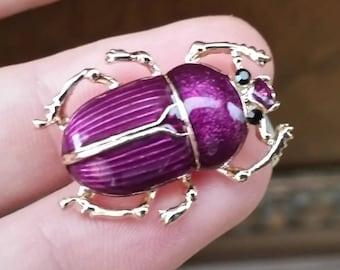 Purple scarab beetle small brooch enamel  gold tone