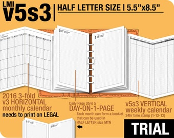Trial [HALF size v5s3 w ds5 do1p] July to September 2018 - Half Letter - Filofax Inserts Refills Printable Binder Planner Midori.
