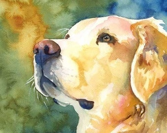 Golden Retriever Art Print of Original Watercolor Painting - 8x10