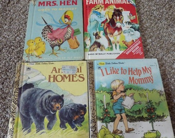 vintage Rand Mcnally and first little golden book set of 4
