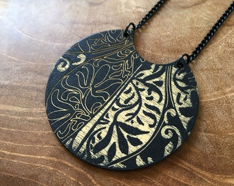 Ethnic - necklace with a beautiful bohemian pendant. boho, gypsy, minimal, black, hippie, ethnic, african