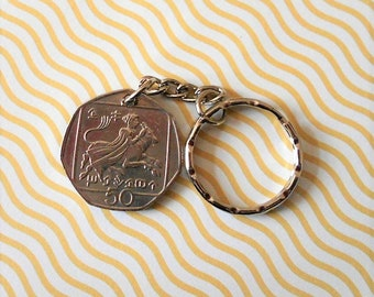 Cyprus 50 Kibris 1993  coin  on keychain
