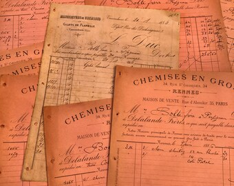Antique French Receipts - Ephemera - Scrap booking - Antique - Decoupage - PINK