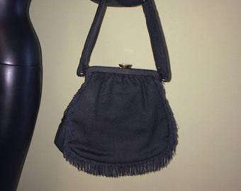 Vintage 1940s 1950s Purse Rockabilly 50s 40s Handbag Black w/ Fringe Bombshell Pin Up Pinup Accessory Accessories Fashion bag by Rosenfeld