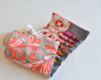 Crayon Roll Up-Crayon Holder-Crayon Organizer-Toddler Girl-Preschool Girl-Birthday Gift-Pink and Grey-Flower-Easter Basket Filler-Easter Toy