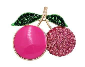 Pink cherry brooch