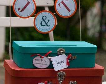 Urn / stack of colorful bags and labels gift box