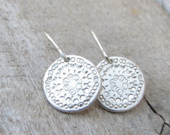 Silver Disc Earrings, Sterling Silver Earring, Simple Silver Dangle Earrings, Small Silver Earings, Silver Earrings Dangle