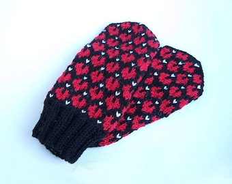 Wool mittens with red hearts For adult woman man teen unisex Winter Love Valentine day gift Chunky warm and cozy Medium size M L XL