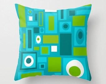 Geometric Throw Pillow Cover, Turquoise  Throw  Pillow Cover, Mid Century Throw Pillow Cover, Cool Pillow Cover, Decorative Pillow Cover