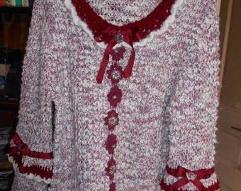 Women sweater mesh, Burgundy and white retro style 42/44