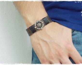 Compass Bracelet, Men's Leather Bracelet, Steampunk Bracelet, Steampunk Leather Bracelet, Compass Men's Wristband, Men's Leather Jewelry