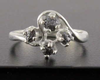 Multi Stone Diamond Ring - Raw Uncut Diamonds - Jet Black Rough Diamond - Silver Engagement Ring, Wedding - April Birthstone