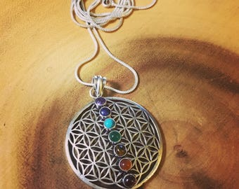 Silver 'Seed of Life' Chakra necklace