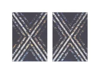 Modern Art X prints Set of 2 Black and White 5x7 or 8x10