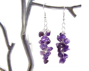 Enchanting Amethyst Gemstone Wire Wrapped Cluster Sterling Silver Earrings / Gift for Her
