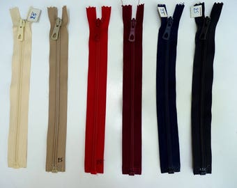 zipper closure detachable brand winged zipper 25 cm or 30 cm length, old but new, different colors in variations