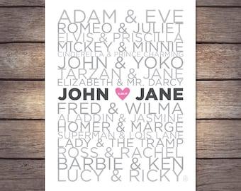 DIGITAL file Famous Couples Print - Personalize!
