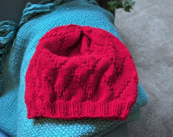 Ready-to-Ship - Hand-Knit Merino Wool Women's Slouchy Hat RED - Other Colours Available