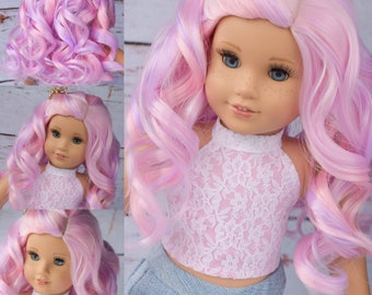 """Custom Doll Wig for 18"""" American Girl Doll  - Heat Safe - Tangle Resistant fits 10-11.5"""" head size of all 18"""" dolls Gotz Our Generation Pink"""
