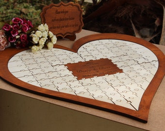 Wedding guestbook alternative guestbook ideas wooden guest book puzzle, Gift for couple