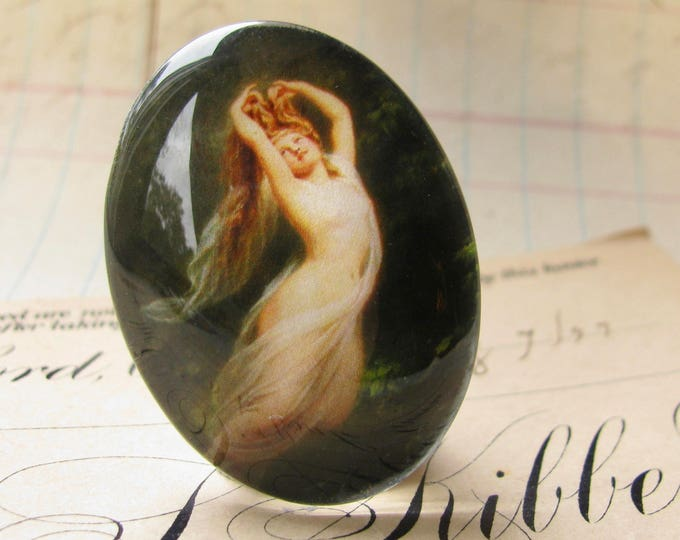 From our Magical Maidens collection, handmade 40x30mm or 25x18mm glass oval cabochon, flying nude, vintage fantasy, flying dream