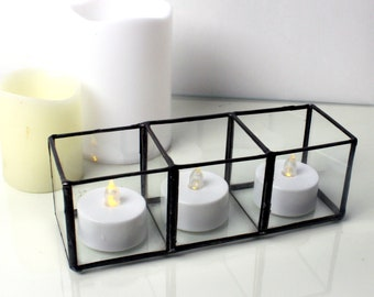 Geometric Glass Tea Light Candle Holder - Stained Glass Decor - Home Decor