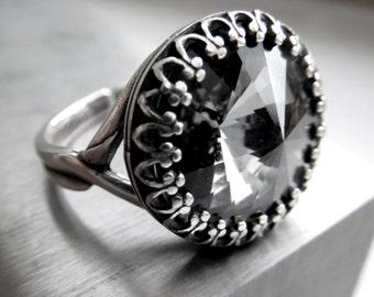 Swarovski Crystal Rivoli Ring in Midnight Black - Grey Crystal Ring with Vintage Style Crown Antiqued Silver Adjustable Crystal Ring CR14