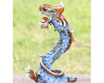 Blue Carved Wooden Dragon Coiled Stance Sculpture Statuette