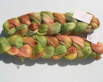 Polwarth Tussah Silk Spinning Fiber - 'Velvet Grass'