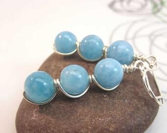 Aquamarine earrings -  sterling silver wire wrapped gemstone earrings - blue gemstone earrings - wire wrapped earrings March birthstone